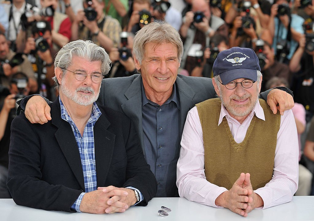 George Lucas, actor Harrison Ford and Director Steven Spielberg at the Indiana Jones and The Kingdom of The Crystal Skull - photocall at the Palais des Festivals during the 61st International Cannes Film Festival on May 18 , 2008 | Photo: Getty Images