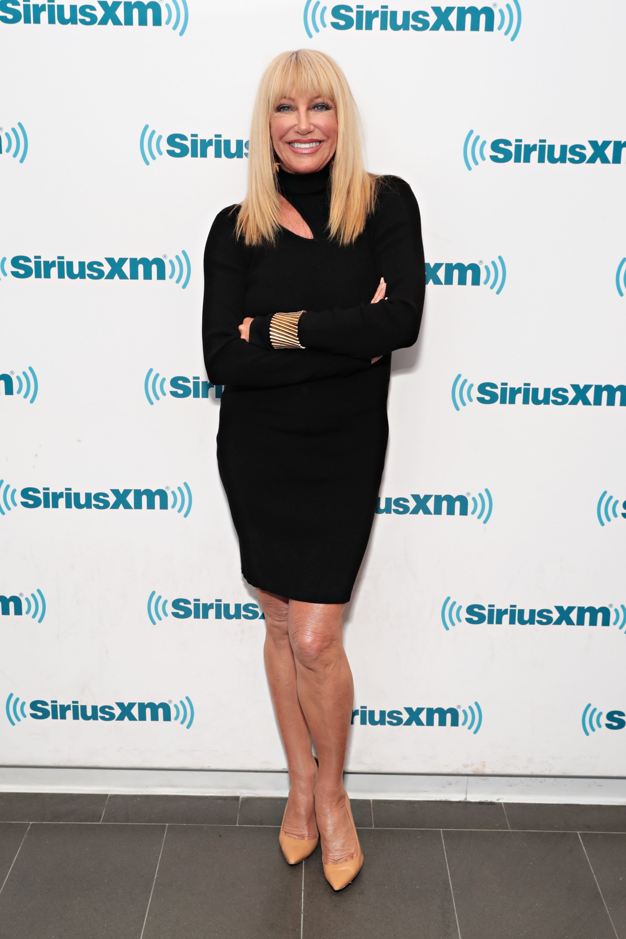 Suzanne Somers visits the SiriusXM Studios on November 15, 2017, in New York City. | Source: Getty Images.