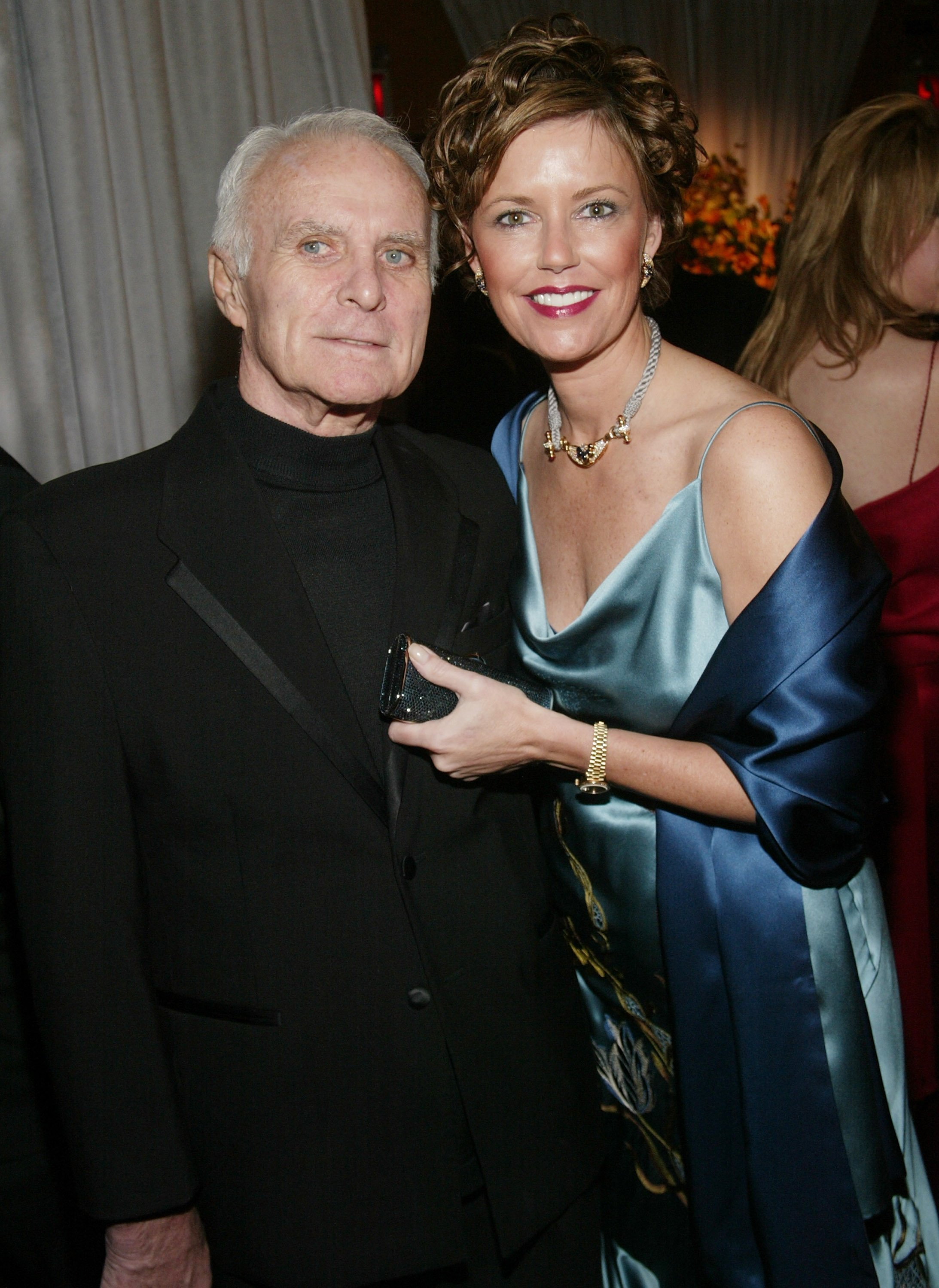 "Robert Conrad and wife LaVelda at the cocktail party for the ""CBS at 75"" television gala at the Hammerstein Ballroom in New York City 