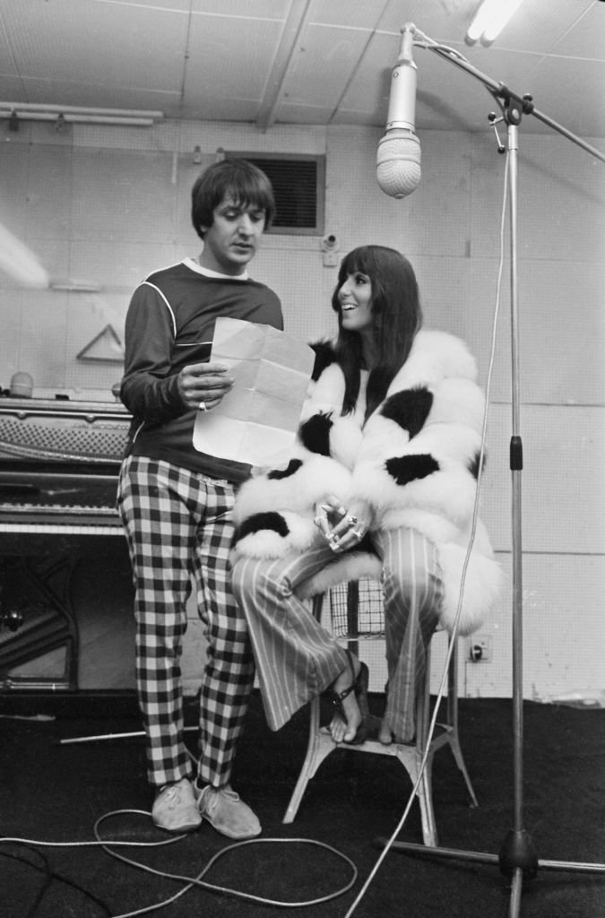 Sonny Bono (1935 - 1998) and Cher, in a recording studio | Getty Images