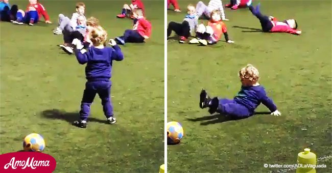 Little boy makes parents laugh when fulfilling a request from the coach to 'move like a crab'