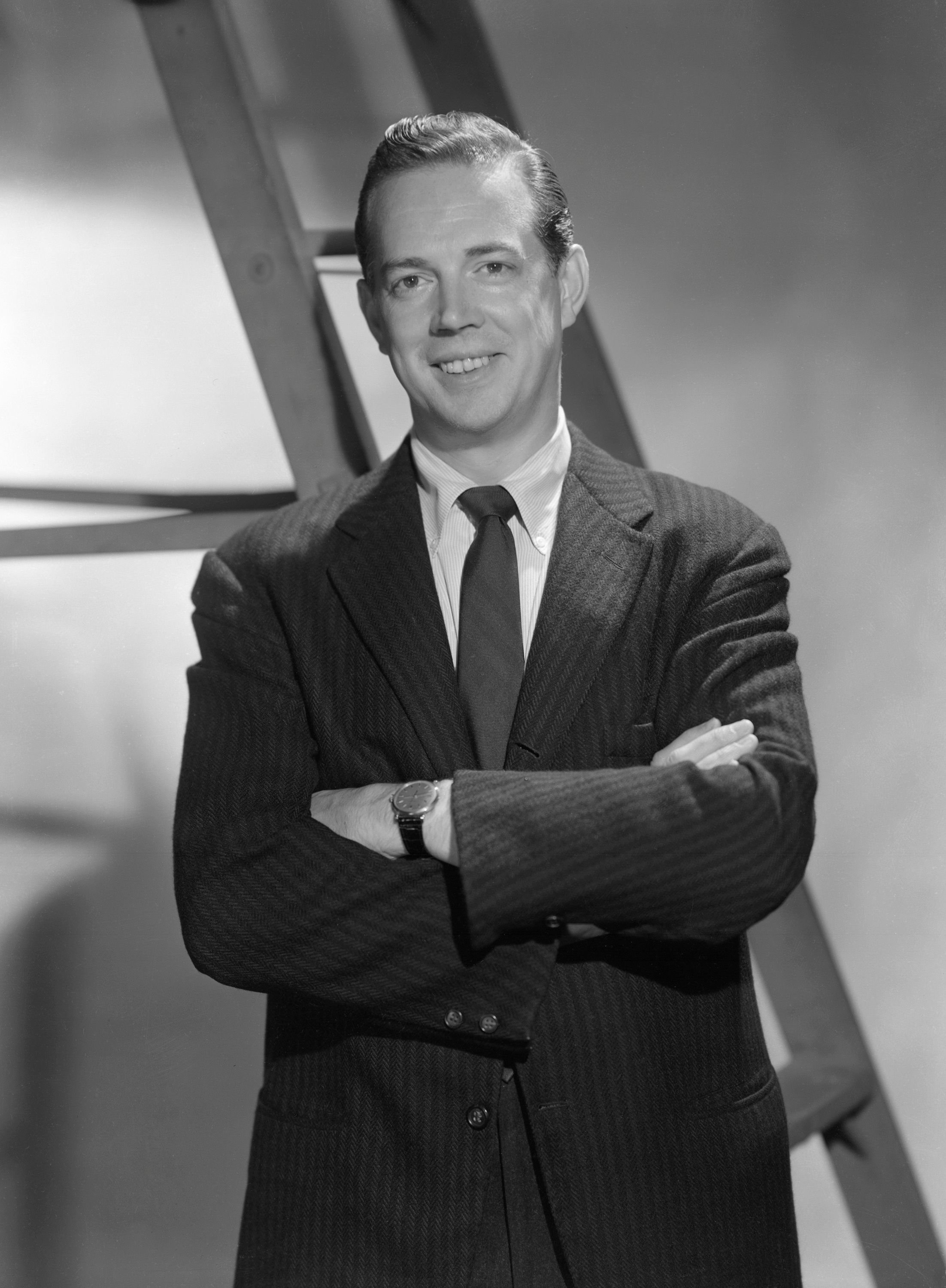 Hugh Downs in 1957 on set at NBC studios   Source: Getty Images