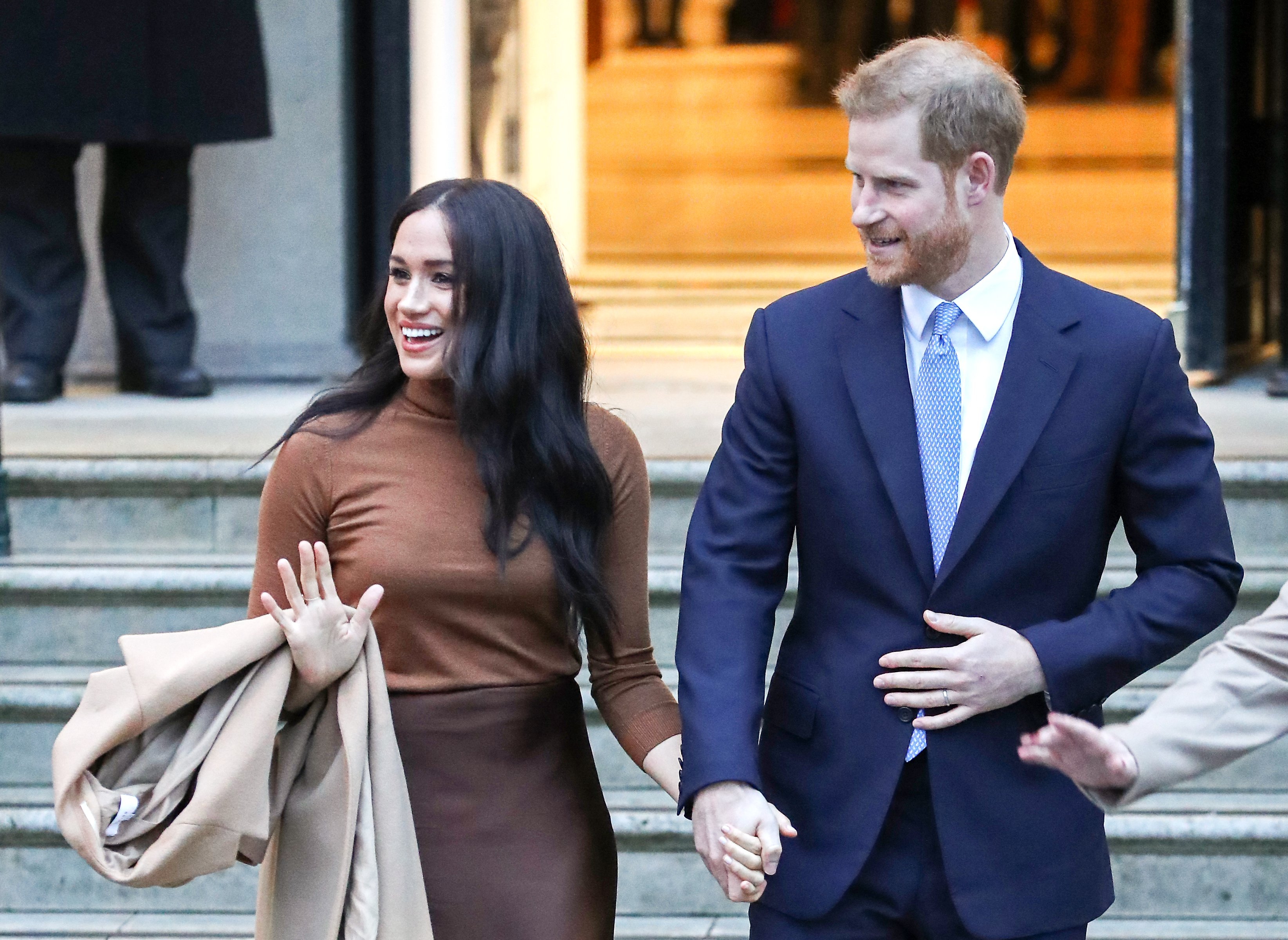Prince Harry and Meghan Markle depart Canada House on January 07, 2020, in London, England. | Source: Getty Images.