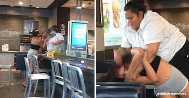 McDonald's worker seen slamming customer who threw milkshake at her in brutal footage