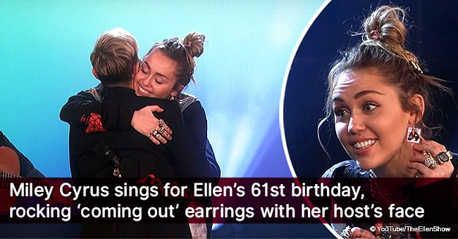 Miley Cyrus sings for Ellen's 61st birthday, rocking 'coming out' earrings with her host's face