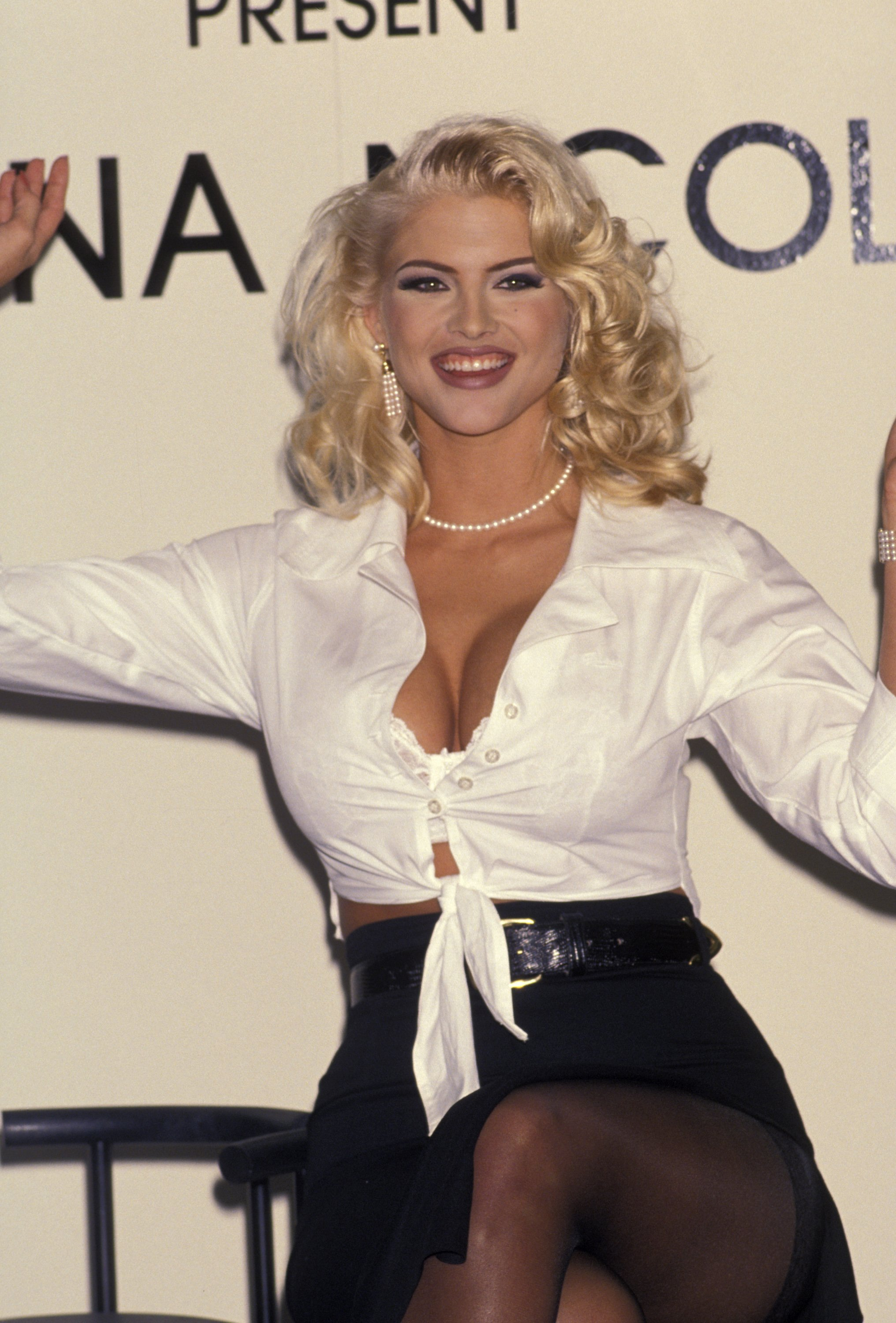 Anna Nicole Smith at the Bullock's Center as a special appearance for Guess sportwear in California in 1993   Photo: Getty Images