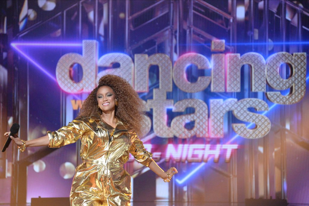 """Host Tyra Banks during 80s Night""""  for the fifth week live for the 2020 season on October 12, 2020. 