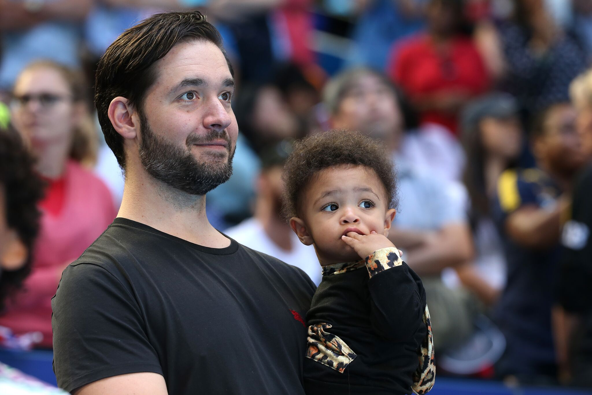 Serena Williams's husband Alexis Ohanian, holds their daughter Alexis Olympia Ohanian Jr. following the women's singles match | Getty Images / Global Images Ukraine