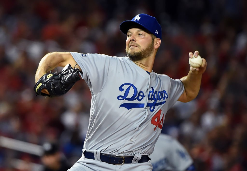 Rich Hill #44 delivers in the first inning against the Washington Nationals on October 07, 2019 | Photo: Getty Images