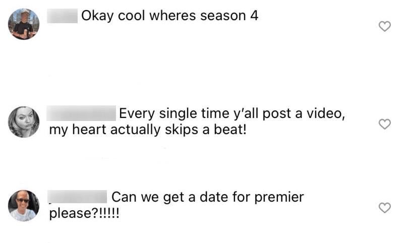 """Fans comment on """"Yellowstone's"""" post wanting to know about season 4 in July 2021   Photo: Instagram/Yellowstone"""