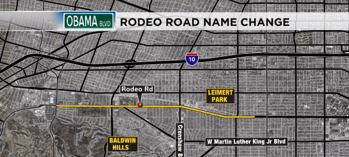The location of the stretch of road named after Barack Obama. | Source: YouTube/ CBS Los Angeles