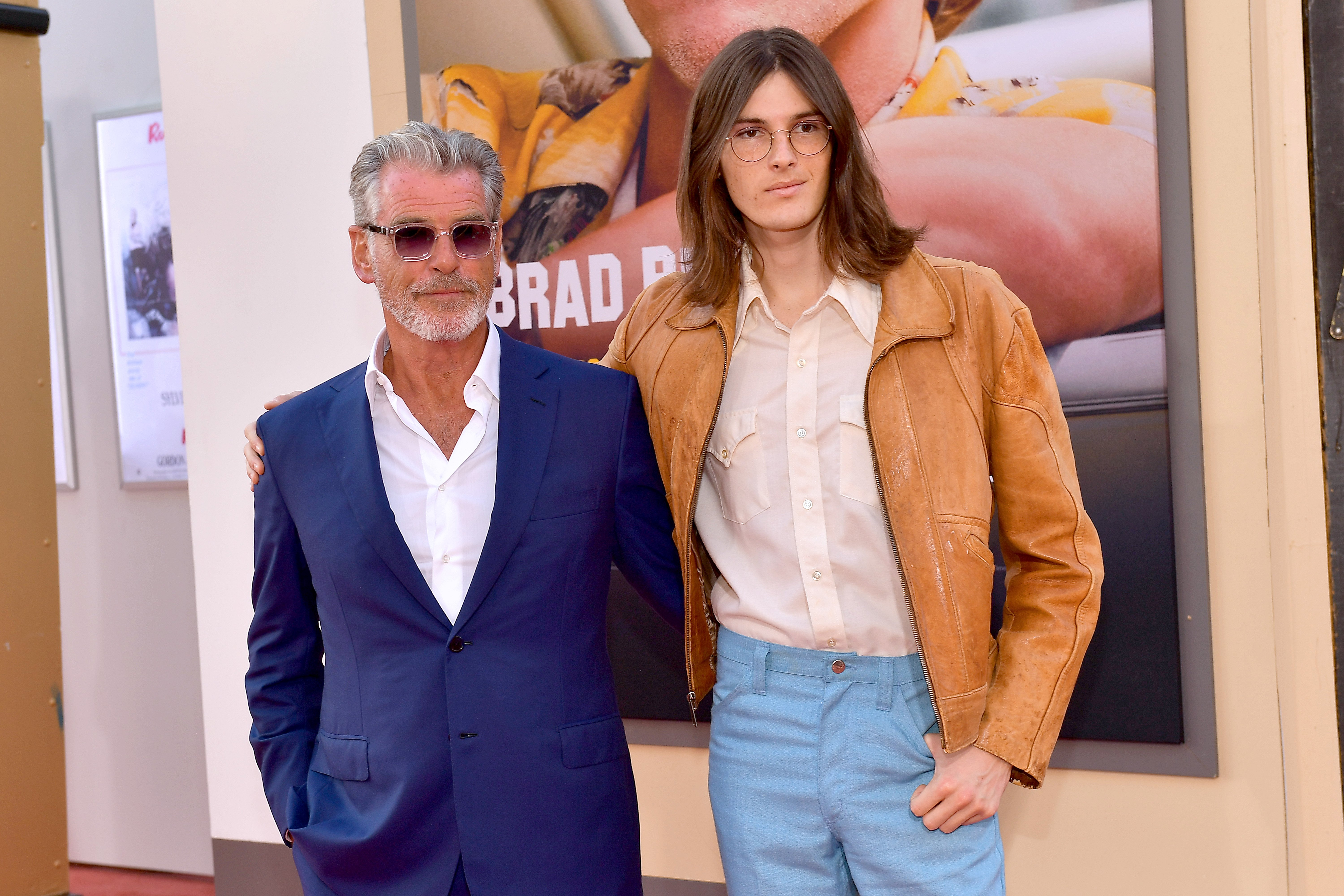 """Pierce Brosnan and Dylan Brosnan attends Sony Pictures' """"Once Upon A Time...In Hollywood"""" Los Angeles Premiere on July 22, 2019, in Hollywood, California. 