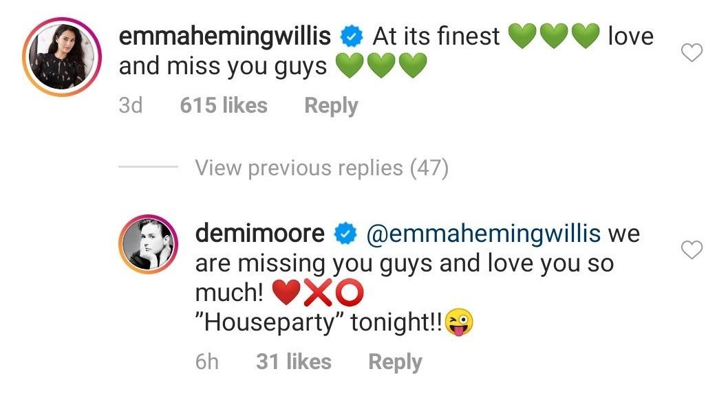 A comment made by Emma on Demi Moore's post | Photo: Instagram/@demimoore