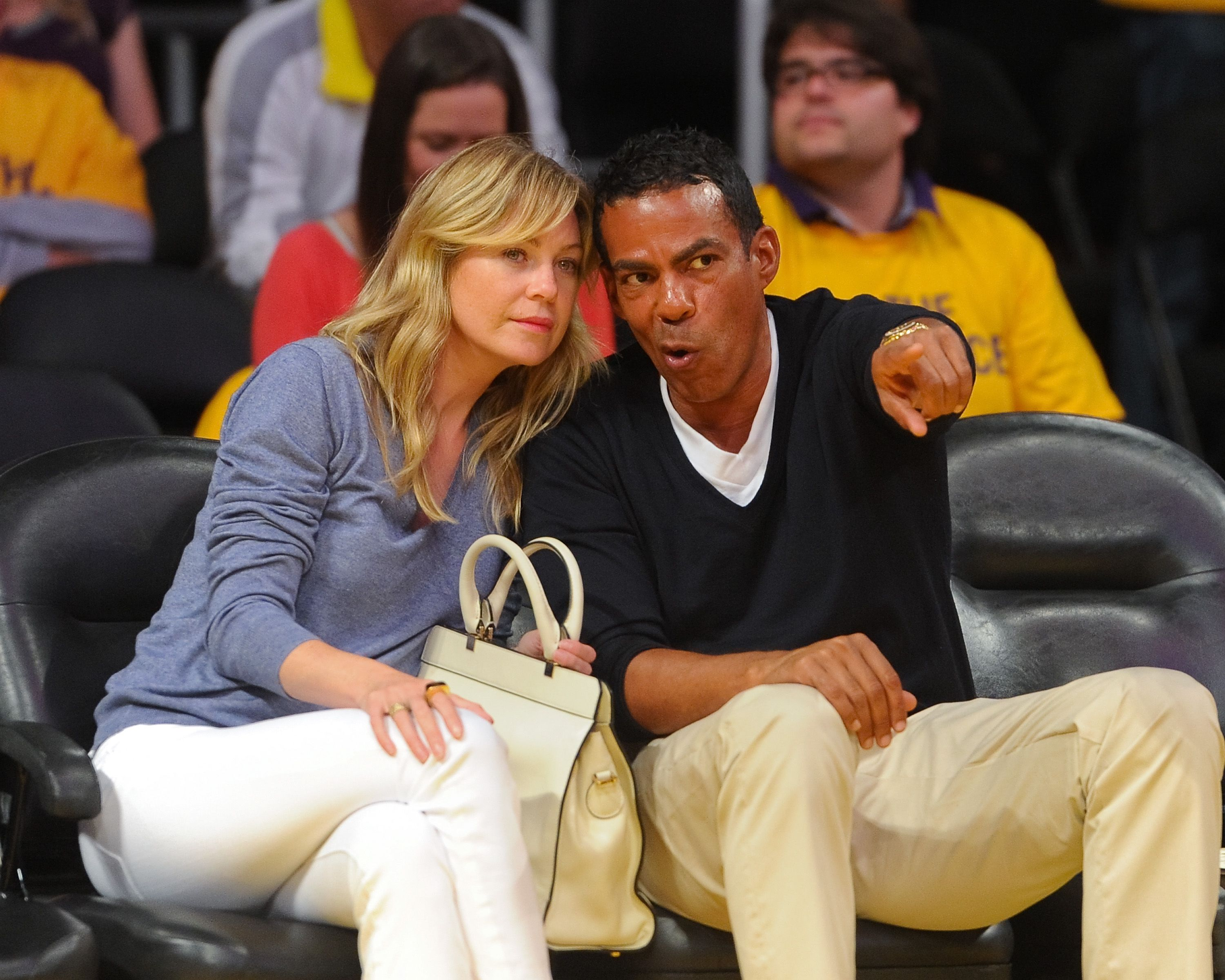 Ellen Pompeo and husband Chris Ivery at the Los Angeles Lakers and Oklamhoma City Thunder Game 3 in the 2012 NBA Playoffs on May 18, 2012 in Los Angeles, California | Photo: Getty Images