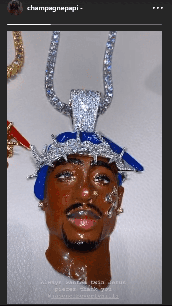"""One of the """"twin Jesus pieces"""" owned by Drake to honor Tupac Shakur, as he shared in social media in July 2020. I Image: Instagram/ @champagnepapi"""