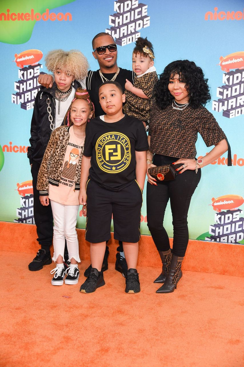 Tiny and her kids, Clifford 'King' Joseph Harris III, Layah Amore Harris, Major Philant Harris and Heiress Diana Harris attend Nickelodeon's 2019 Kids' Choice Awards at Galen Center on March 23, 2019 in Los Angeles, California.   Source: Getty Images