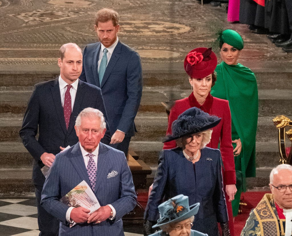 Prince William, Kate Middleton, Prince Harry, Meghan Markle, Prince Charles, and Camilla, Duchess of Cornwall stand together during the Commonwealth Day Service on March 9, 2020, in London, England Source: Phil Harris - WPA Pool/Getty Images