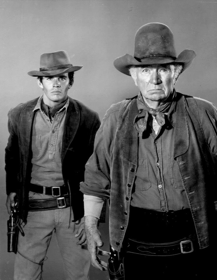 """Dack Rambo and Walter Brennan as the two main cast members in the television Western """"The Guns of Will Sonnett."""" 