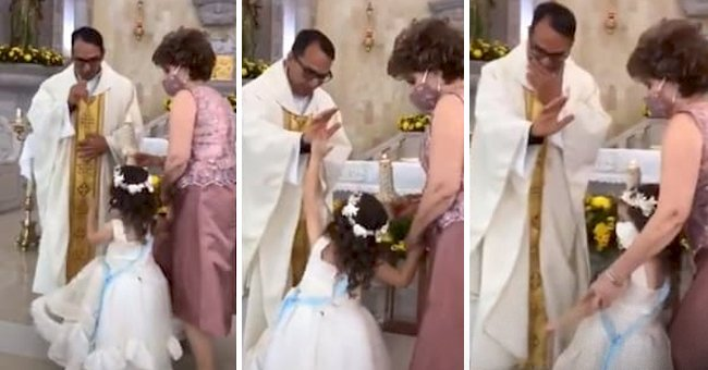 Priest Gives a Little Girl His Blessings and Gets a High Five in Return — See the Funny Video