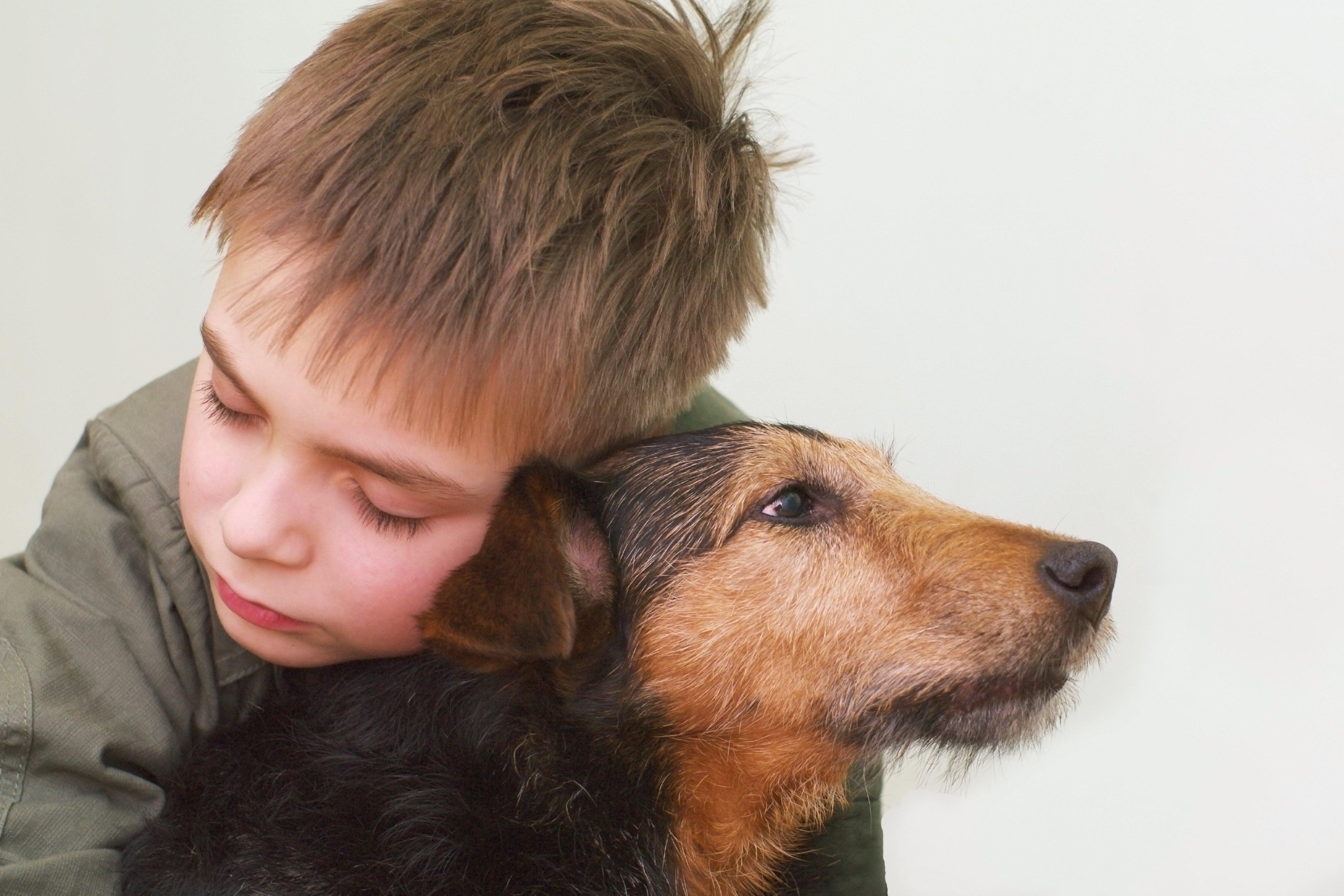 Niño abraza a su perrito. || Fuente: Shutterstock