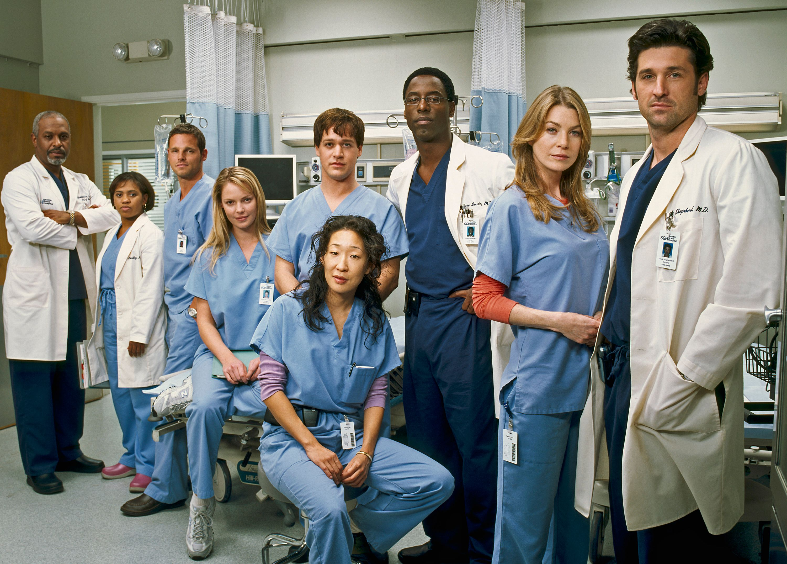 "Un portrait de la distribution de l'émission ""Grey's Anatomy"" d'ABC le 23 janvier 2005 