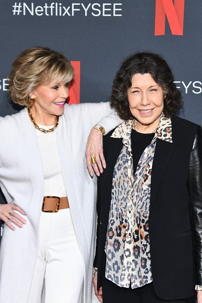 "Jane Fonda and Lily Tomlin at FYC Event For Netflix's ""Grace And Frankie"" at Raleigh Studios on May 18, 2019, in Los Angeles, California. 