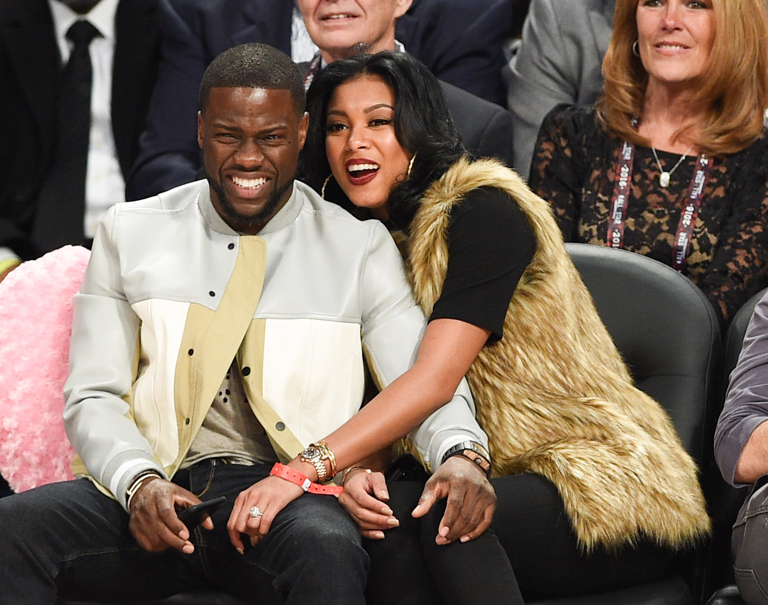 Actor Kevin Hart and Eniko Parrish attend the 2016 NBA All-Star Game at Air Canada Centre on February 14, 2016| Photo: Getty images