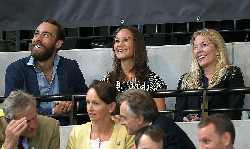 James Middleton, Pippa Middleton and Autumn Phillips watch the wheelchair rugby at the copperbox at Queen Elizabeth park. | Source: Getty Images