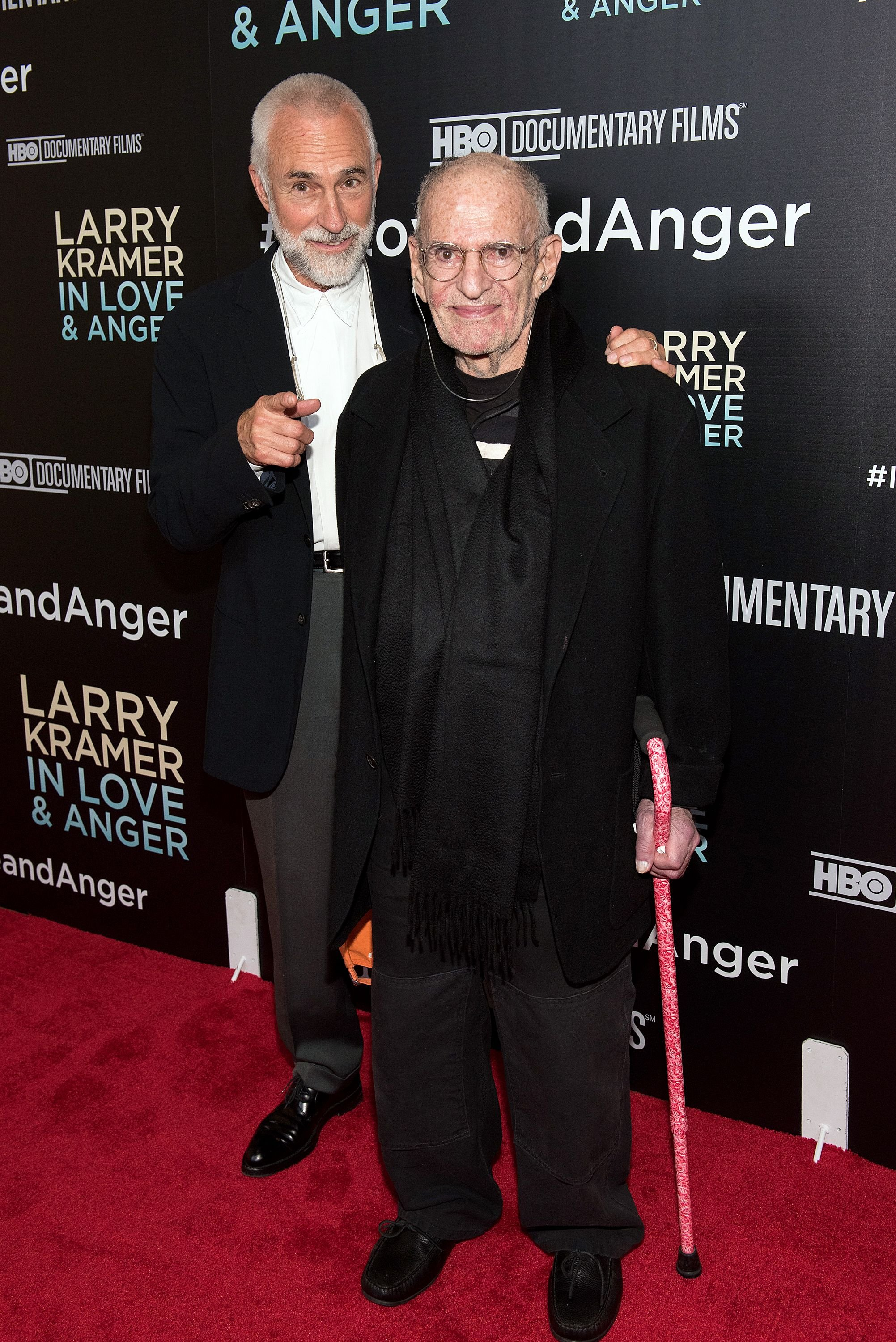 "David Webster and Larry Kramer at the ""Larry Kramer in Love and Anger"" New York premiere on June 1, 2015, in New York City 
