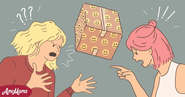 Two girls fighting with box in the middle   Source: AmoMama