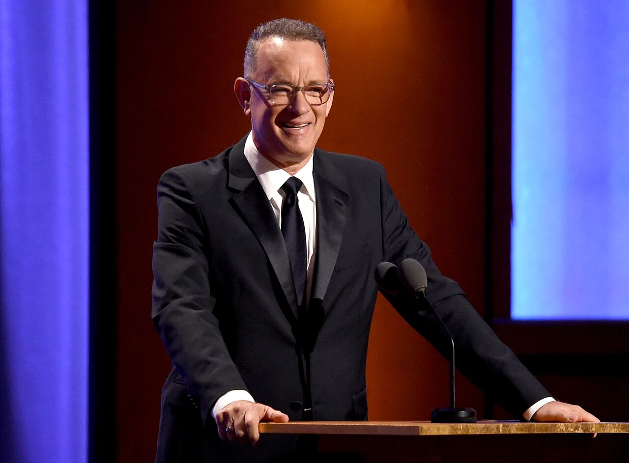 Tom Hanks giving a speech. | Source: Getty Images