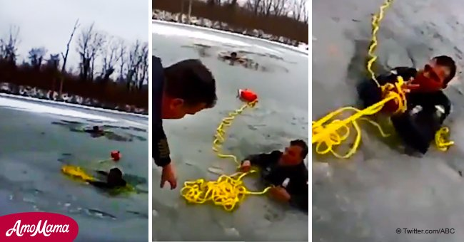 Daring rescue: Police officers help teenager and colleague who fell into a frozen lake