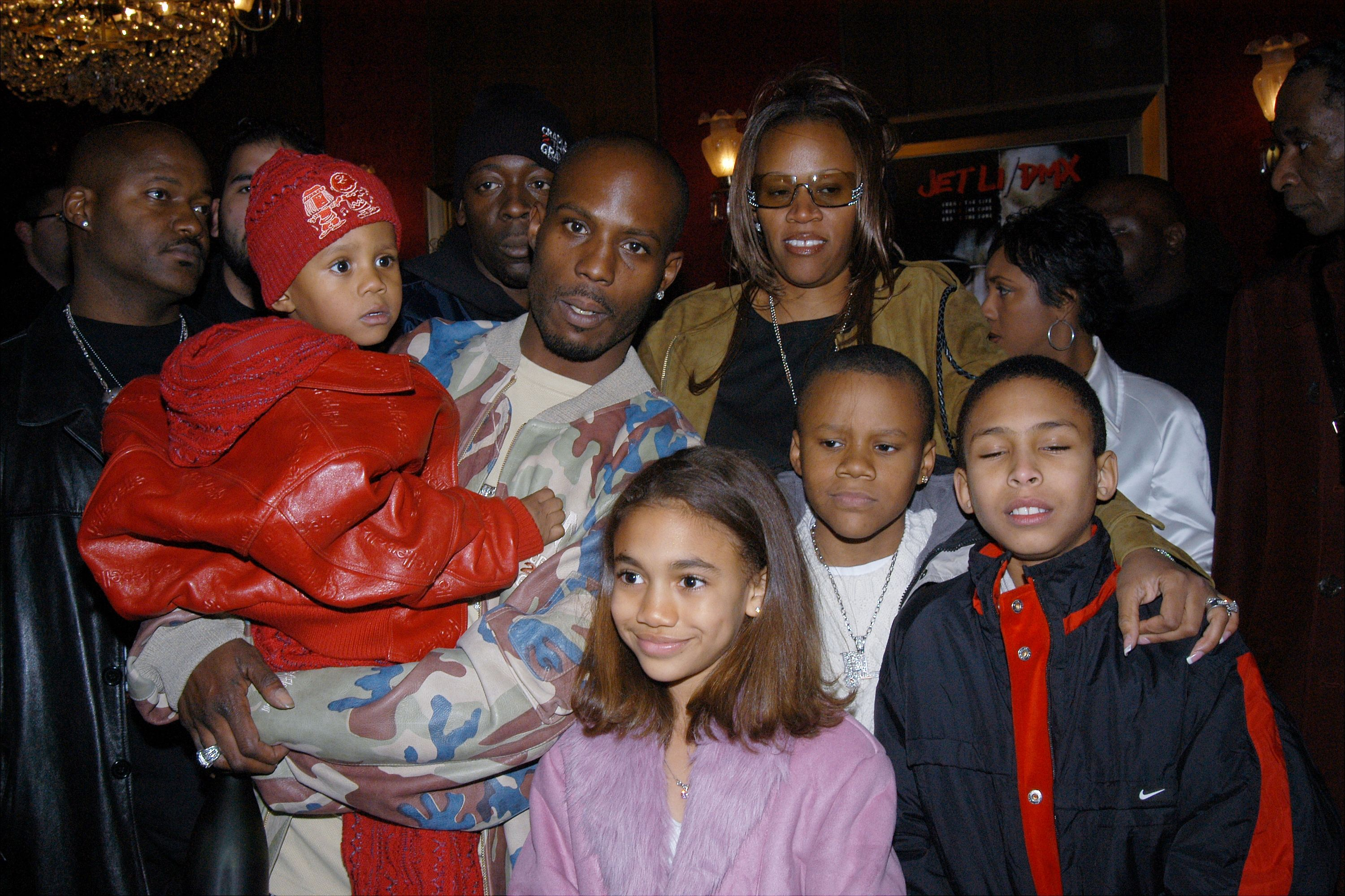 """Rapper DMX, wife Tashera and children at the Ziegfeld Theater """"Cradle 2 the Grave"""" movie premiere. 