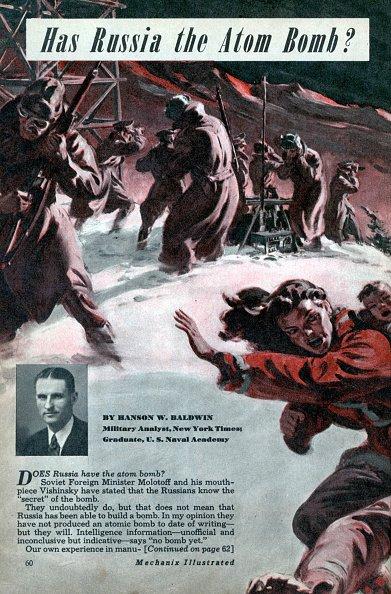 Tiene Rusia la bomba atómica, artículo de Hanson W. Baldwin de Mechanix Illustrated (Modern Mechanix) marzo de 1948. | Fuente: Getty Images