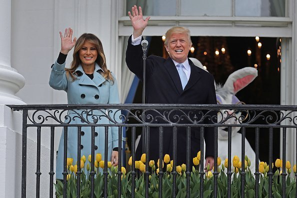 First Lady, Melania Trump and President Donald Trump during the 140th annual Easter Egg Roll on the South Lawn of the White House, April 2, 2018 | Photo: Getty Images
