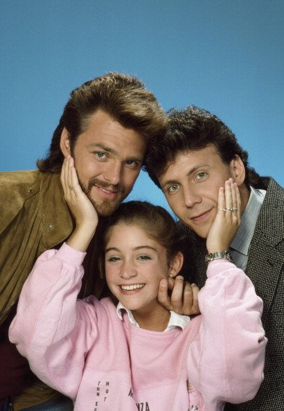 """My Two Dads"" casts, Greg Evigan as Joey Harris, Staci Keanan as Nicole Bradford, Paul Reiser as Michael Taylor, undated picture. 