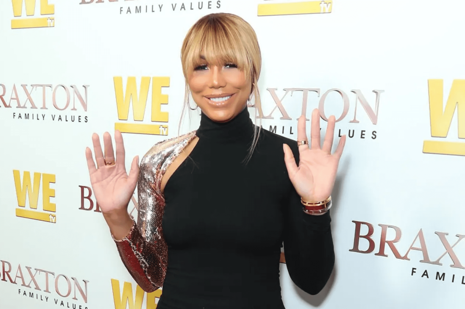 "Tamar Braxton at the ""Braxton Family Values"" Season 6 premiere at The Doheny Room on April 02, 2019 in West Hollywood, California.