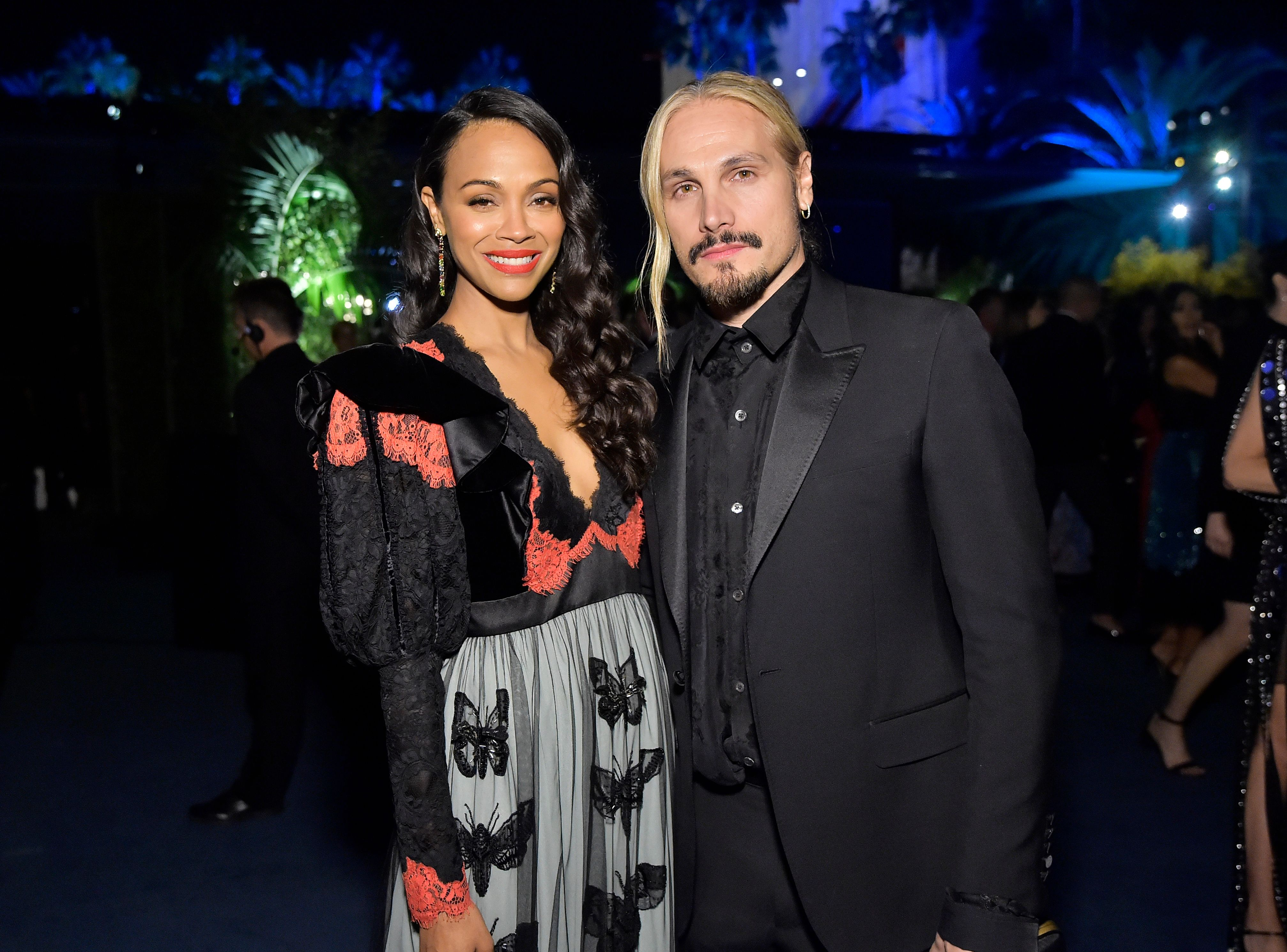 Zoe Saldana and Marco Perego at the 2019 LACMA Art + Film Gala Presented By Gucci at LACMA on November 02, 2019 | Photo: Getty Images