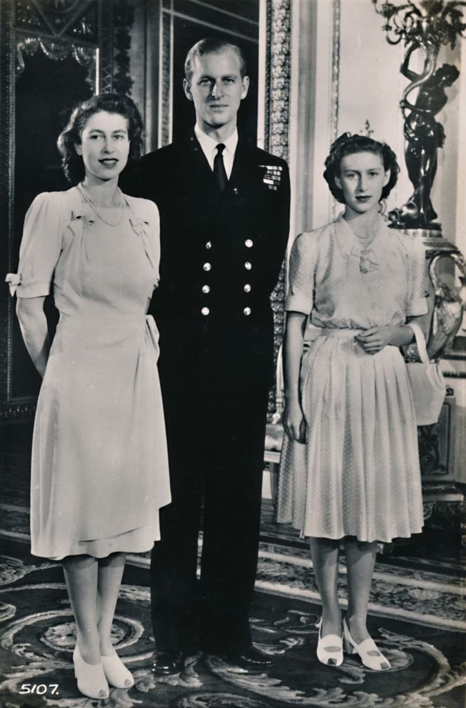 Royal Highnesses Princess Elizabeth and Princess Margaret with Lieut. Philip Mountbatten', 9 July 1947.  | Getty Images