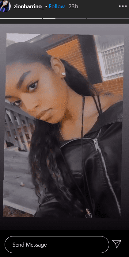 Fantasia's daughter, Zion in a black leather jacket with cute earrings. | Photo: Instagram/zionbarrino_