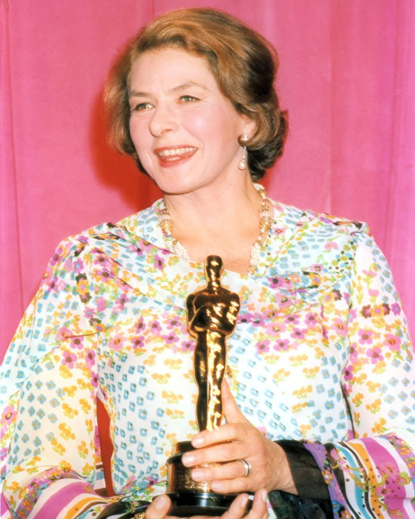 """Ingrid Bergman at the 47th Academy Awards with the Oscar she won for Best Actress in a Supporting Role for her performance in """"Murder on the Orient Express"""" 
