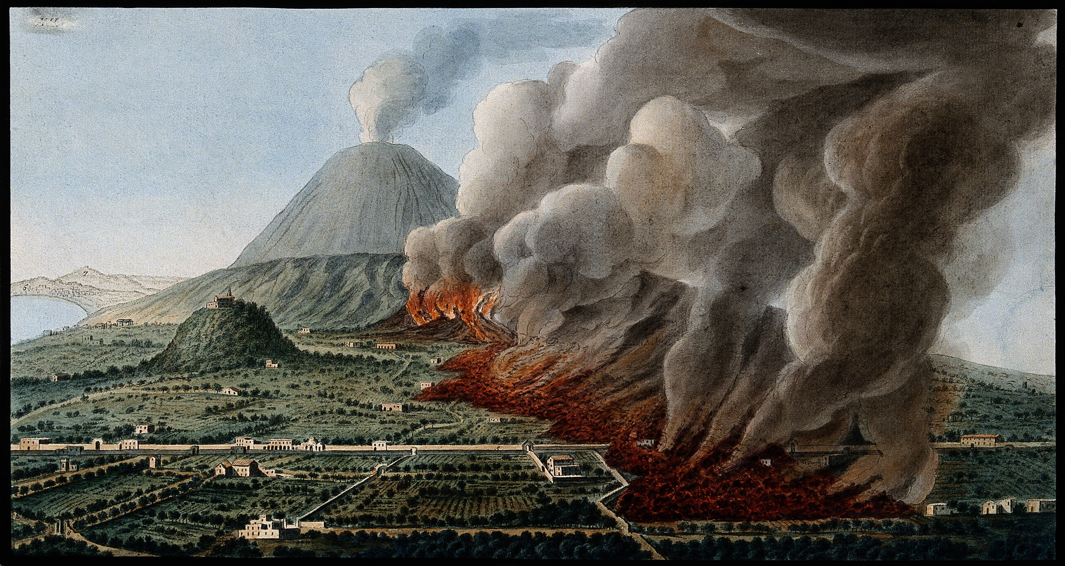 Mount Vesuvius: a volcanic eruption at the foot of the mountain | Source: Wikimedia Commons