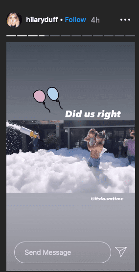 Hilary Duff's family having fun with a foam machine on her 33rd birthday. | Source: Instagram/hilaryduff