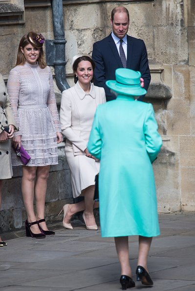 Prince William, Kate Middleton, and Princess Beatrice at St George's Chapel on April 16, 2017 in Windsor, England. | Photo: Getty Images