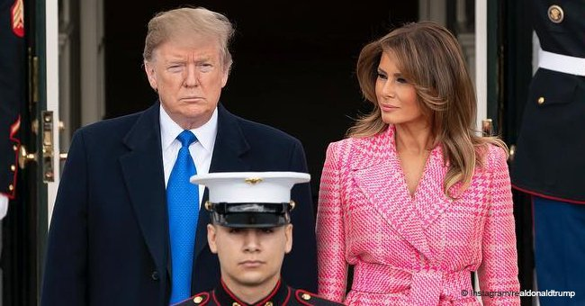 Melania Trump turns heads in a bright pink coat with fur sleeves on St. Valentine's day eve