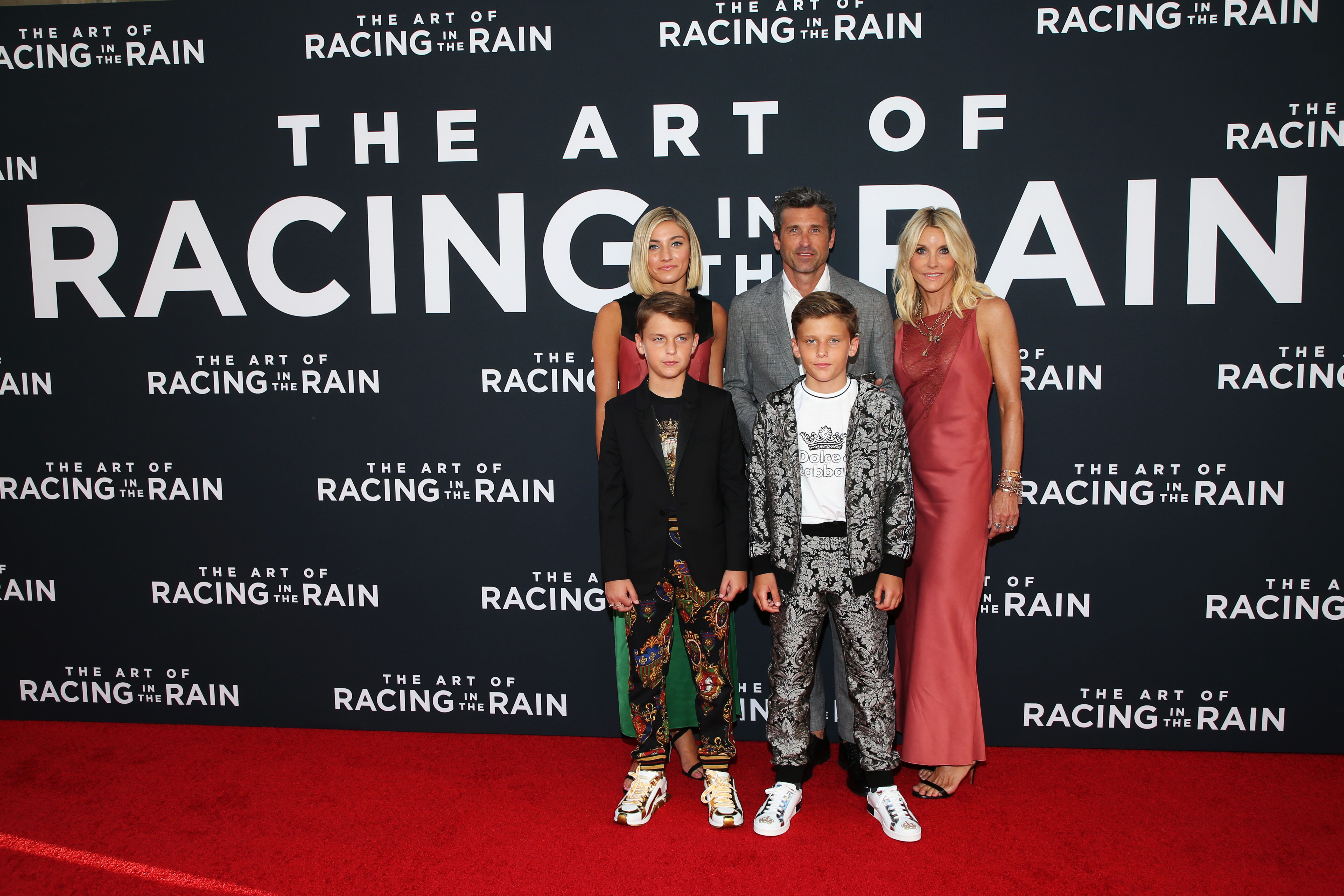 """Patrick Dempsey and family attend the premiere of 20th Century Fox's """"The Art Of Racing In The Rain."""" 