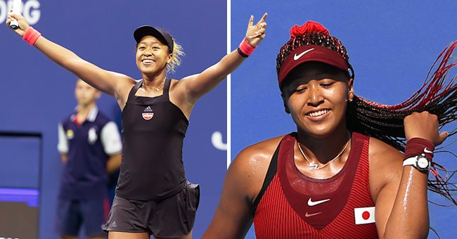 Naomi Osaka at USTA Billie Jean King National Tennis Center on September 18, 2018 in New York and the next photo shows Osaka on day two of the Tokyo 2020 Olympic Games at Ariake Tennis Park on July 25, 2021 in Tokyo, Japan   Photo: Getty Images and Shutterstock