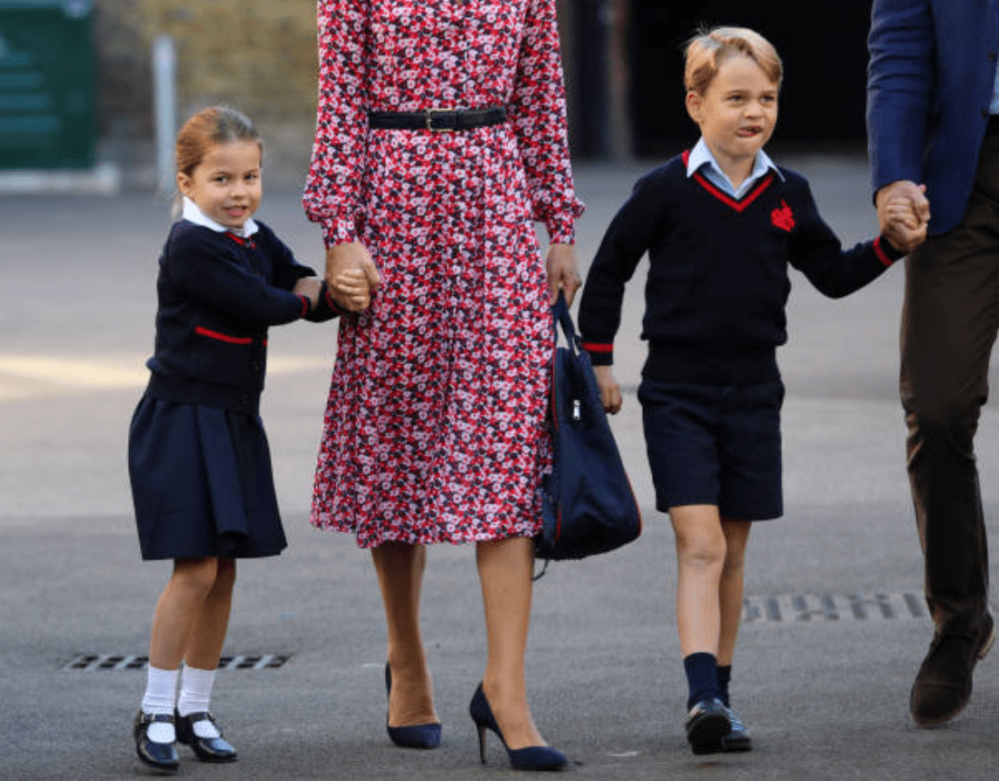 Prince Harry, Kate Middleton, Princess Charlotte and Prince George arriving for her first day of school at Thomas's Battersea on September 5, London | Source: Getty Images
