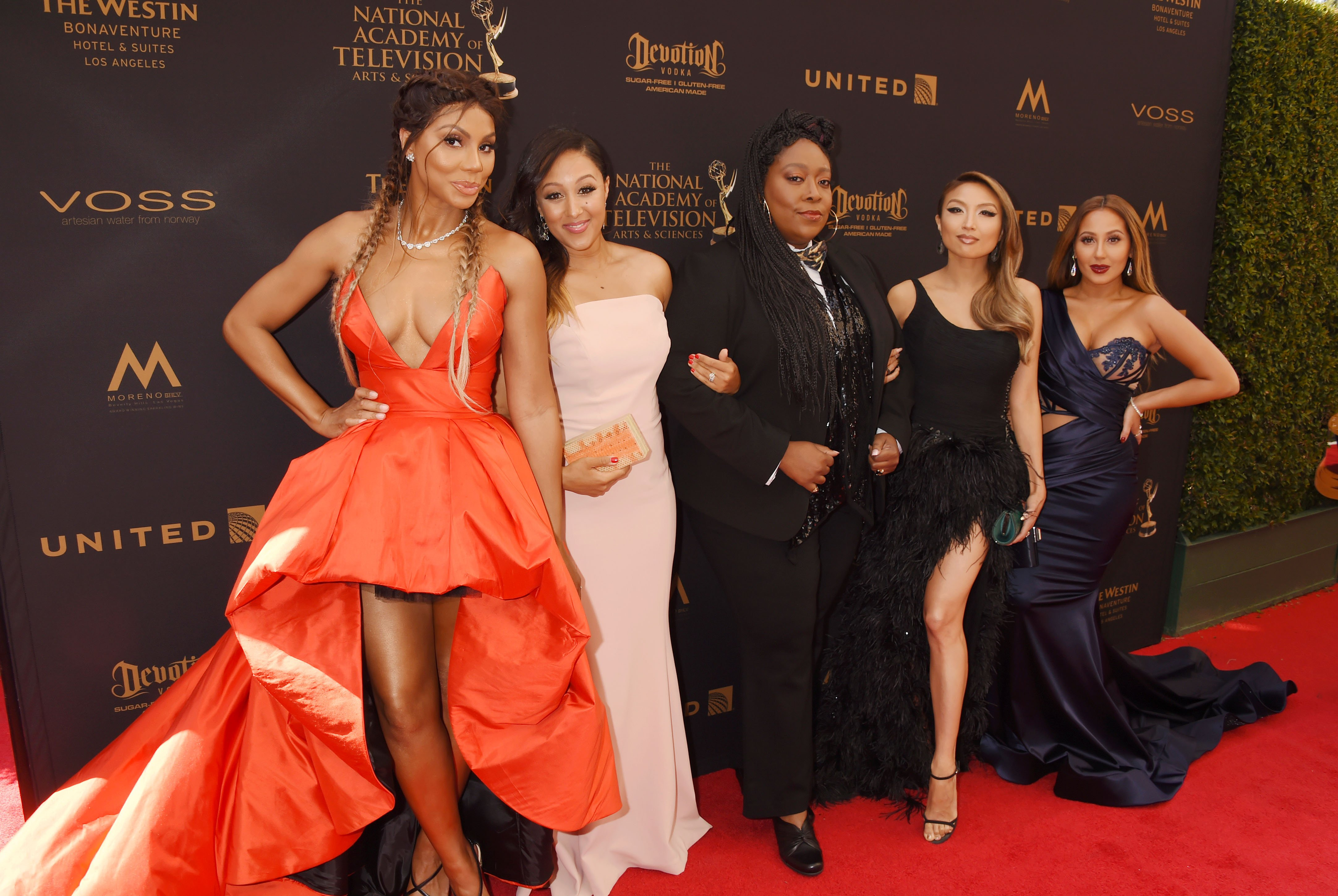 Tamar Braxton, Tamera Mowry Housley, Loni Love, Jeannie Mai and Adrienne Bailon attend the 2016 Daytime Emmy Awards at Westin Bonaventure Hotel on May 1, 2016 in Los Angeles, California. | Photo: Getty Images