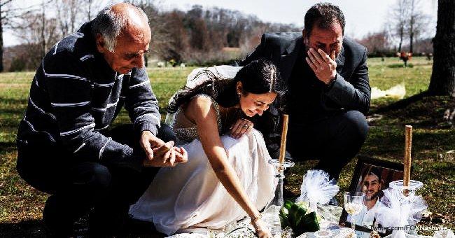 Le jour du mariage : Moment déchirant où une jeune fille pleure son fiancé en se rendant sur sa tombe
